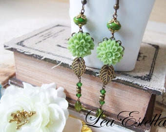 CLEARANCE SALE** Swarovski Crystals Olive Green Leafy Floral Long Earrings - Lush