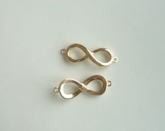 Gold Vermeil  infinity connector, eternity link, infinity link,  (23x8mm)