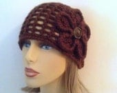 Womens Flower Hat - Dark Brown Crochet Beanie Hat