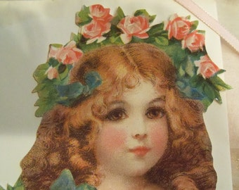 Valentine with Victorian Image of Child and Pink Roses and Heart