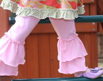 pink knit leggings with double ruffles sizes 12m - 12 girls