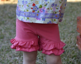 coral pink knit double ruffle shorts shorties sizes 12m - 14 girls