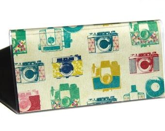 CHECKBOOK COVER - Kodachrome. Vintage Cameras. Vinyl Wallet. Checkbook Holder.