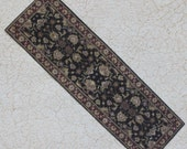 Miniature Carpet Runner For Dollhouse in Black and Browns One Twelfth Scale