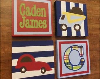 Items Similar To Custom Red Firetruck Painting Boys