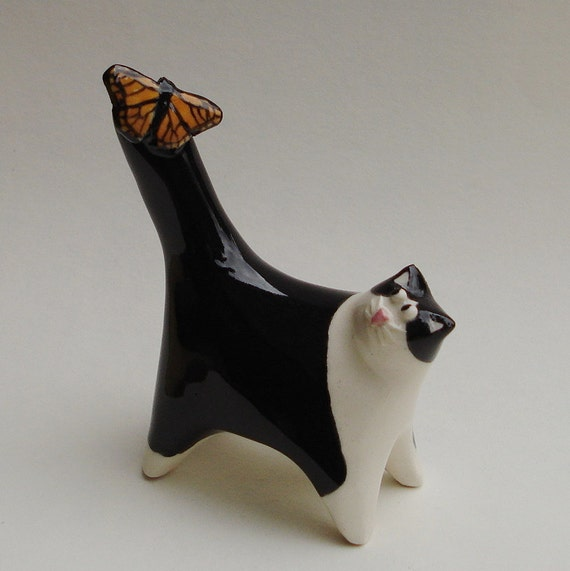 Tuxedo cat with monarch butterfly, ceramic miniature