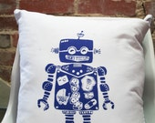 Screen printed Robot Pillow Cover 16x16""