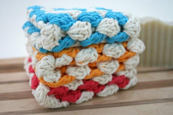 Crochet Cotton Dish Cloth - Wash Cloth - Set of Three Cotton Dishies