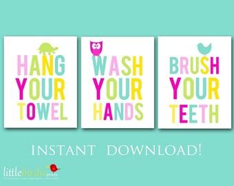 BATHROOM WALL ART - Wash your hands - Brush your teeth - Hang your towel - Instant download Printable - Kids - Owl Bird Turtle