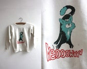 Vintage 1950s Childs Cat Sweatshirt Size Small