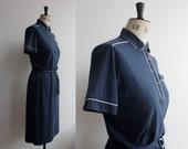 Vintage 1970s 1980s Blue Leon Levin Dress Size S- M