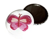 "Butterfly Pocket Mirror Embroidered 3"" Basket Stuffer"