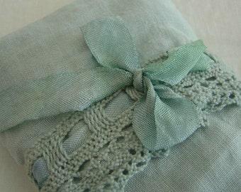 Lavender Eye Pillow - Bella Notte Sea Glass Linen Crochet Trim