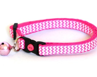 Chevron Cat Collar - Soft Pink - Small Cat / Kitten or Large Size Collar