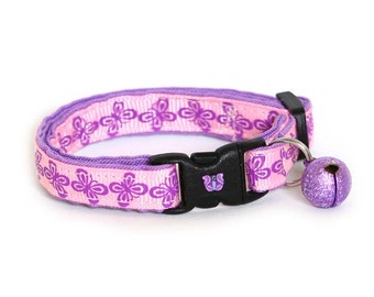 Butterfly Cat Collar - Pink and Purple Butterflies - Small Cat / Kitten Size or Large Size