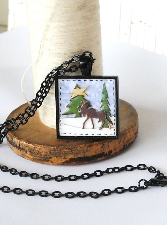 Winter Moose Necklace Paper Jewelry Black Silver Maine Fashion