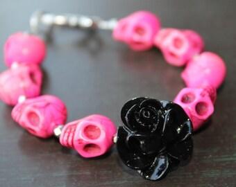 Day of the Dead Rose and Sugar Skull Bracelet