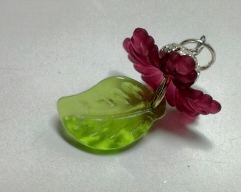 Clearance Magenta Flower and Green Leaf Dangle Pendant