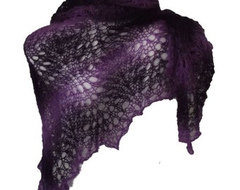 Hand knitted purple plum violet lacy triangle shawl Summer Midnight