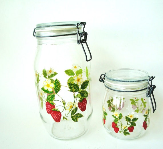 Vintage Strawberry Glass Canister Set of Two