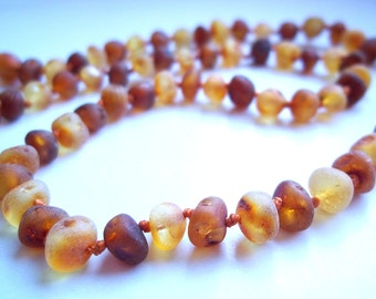Raw Unpolished  Baroque Honey and Cognac colour Genuine Baltic  Amber  Necklace Choker  18.1 inches.