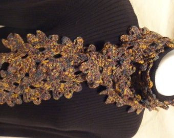 Purple, green and gold cascading flowers scarf--EN