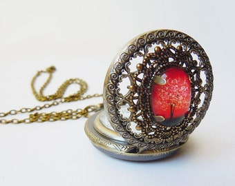 Ruby Sunset -- Wearable Art Pocket watch necklace-Mothers Day Gift