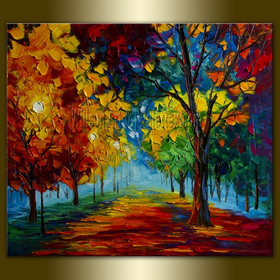 Original Landscape Canvas Oil Painting Palette Knife Textured Contemporary Modern Tree Art Seasons 27X31 by Willson Lau