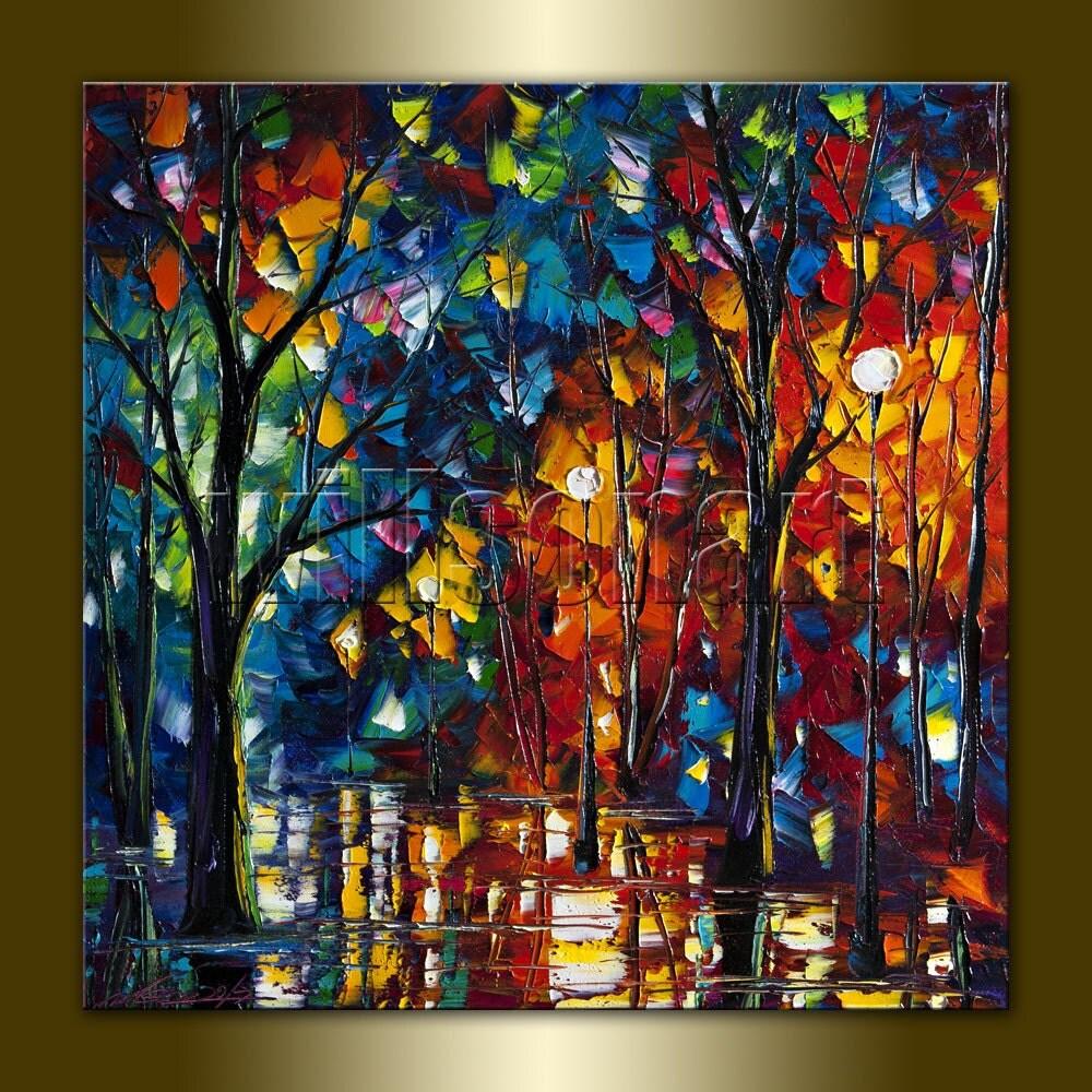 Paesaggio pittura, pittura a olio, spatola pittura