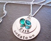 Personalized 2 Name Hand Stamped Silver Mother Grandmother Jewelry Necklace Grandchildren