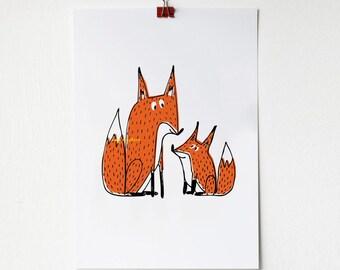 A4 Fox and Cub Print