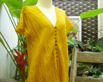 Comfy Roomy V Short Sleeves Top - Mustard