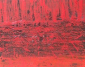 Original Abstract Modern Art Painting Red Black