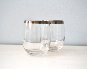 Vintage 1960s Roly Poly Glasses, Mad Men Style Silver Rim Drinking Tumblers, Set of 2, Silver Band Rocks Glasses
