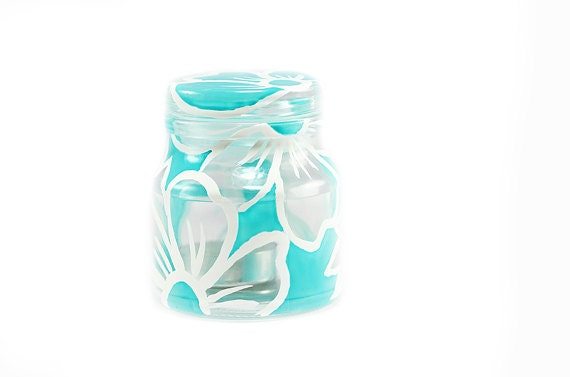 Hand Painted Glass Jar Candle Holder Lace white turquoise kitchen decor home decor  Decorative Glass Art
