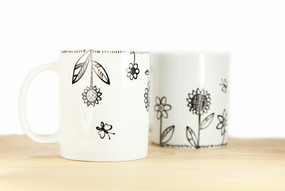 Hand Painted Ceramic Mugs White Porcelain Coffee Mugs Tea Mugs Black Minimalist Abstract Modern Flower Kitchen Decor - Set of 2 Ceramic Mugs
