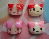 Happy retro kitten cabochons   4 pcs