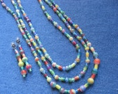SET - Three Tier Multicolored Long Necklace  - Matching Earrings
