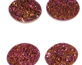 Grade AAA 2 Pieces Purple Oval Calibrated Druzy Agate 18x14mm Cabochon B44DR2202