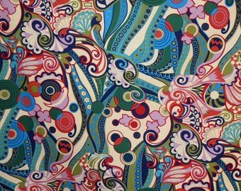 Vibrant Teal and Red Bohemian Bascha Print by Alexander Henry Pure Cotton Fabric--One Yard