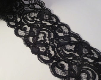 SPECIAL--Black Jacobean Design Reimbroidered Lace Trim--One Yard