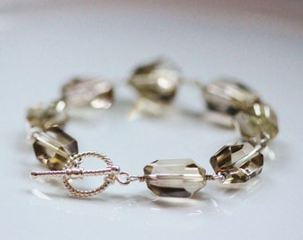 Large Lemon Quartz Sterling Silver Bracelet, Wire Wrapped, Bali Toggles Gemstone Nuggets