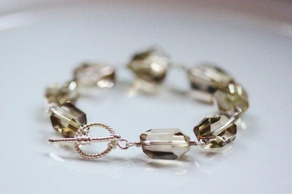 Large Lemon Quartz Sterling Silver Bracelet Wire Wrapped Bali Toggles Gemstone Nuggets