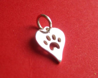 Sterling Silver Heart Charm with Cut Out Paw Print