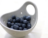 Pottery Berry Bowl with Handle - Small in Soft Gray - Ceramic Colander