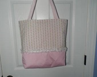 Shabby Chic Pink Rosebud Tote/Diaper Bag