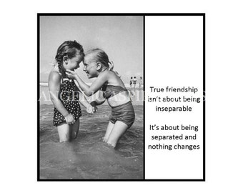 Retro Inspired Magnet - True friendship isn't about being inseparable ... it's about being separated and nothing changes - Retro Friends