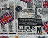 "UK style pop rock and pop music - 2 colors - half yard - cotton linen - ipad cover, Check out with code ""5YEAR"" to save 20% off"