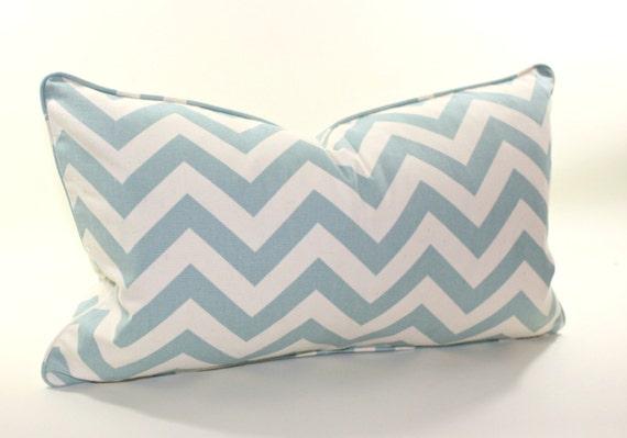 Soft Chambray Blue and Natural Chevron Lumbar Pillow Cover, Decorative Pillow Cover, Accent Pillow, Throw Pillow, toss pillow