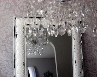 Huge Leaning Mirror, Ornate White Mirror Tin  Shabby Chic
